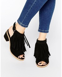 Asos Collection Result Leather Fringe Ankle Boots