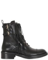 Elie Saab 40mm Ranger Fringed Leather Ankle Boots