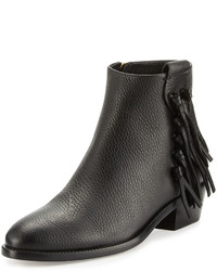 Valentino Pebbled Leather Bootie With Fringe Trim Black