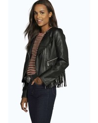 Boohoo Aria Fringe Zip Detail Faux Leather Biker