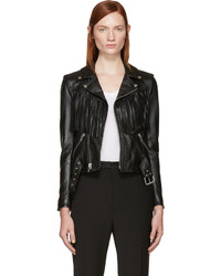 Saint Laurent Black Leather Fringed Biker Jacket