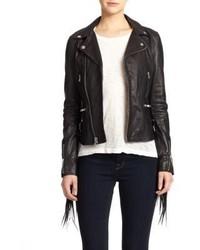 BLK DNM Fringe Leather Moto Jacket