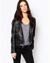 Brave Soul Pu Biker Jacket With Fringing