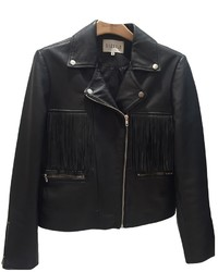 Claudie Pierlot Leather Biker Jacket With Fringe