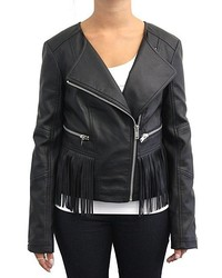 Coffeeshop Black Fringe Faux Leather Moto Jacket