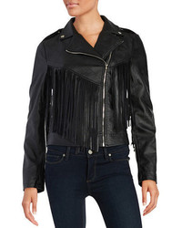 Design Lab Lord Taylor Faux Leather Fringe Jacket