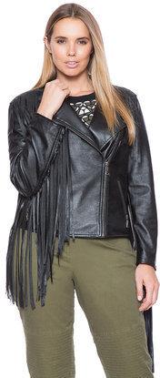 beautiful design beautiful in colour popular stores $189, ELOQUII Plus Size Studio Faux Leather Fringe Jacket