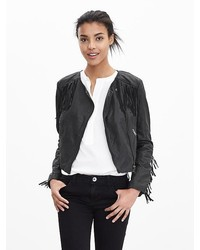 Fringe Leather Moto Jacket