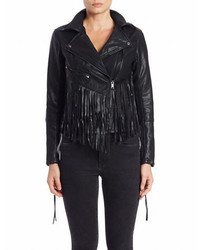 Blank NYC Fringe Trimmed Faux Leather Jacket
