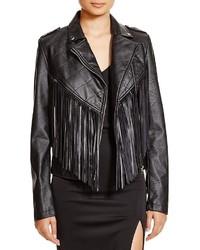 Aqua Fringed Faux Leather Moto Jacket
