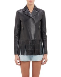 Valentino Fringed Studded Leather Moto Jacket Black