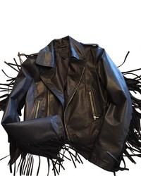 Hotel Particulier Leather Biker Jacket With Fringe
