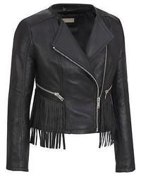 Black Rivet Leather Collarless Fringe Moto Jacket