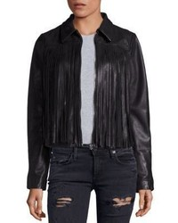Leather fringe moto jacket medium 831728