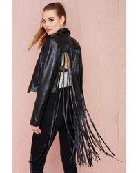 Nasty Gal Leather The Misfit Fringe Jacket