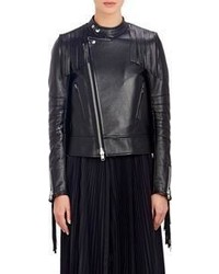 Sacai Luck Fringed Leather Flared Moto Jacket Black