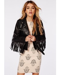 Missguided Fringed Back Faux Leather Biker Jacket