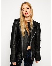 Reclaimed Vintage Asos Leather Jacket With Fringing