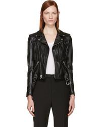 Saint Laurent Black Leather Fringed Biker Jacket