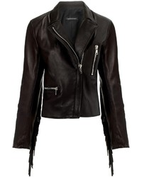 Theperfext Black Leather Fringe Gina Jacket