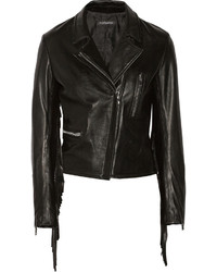 Theperfext Gina Fringed Leather Biker Jacket