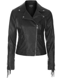 Topshop Fringe Faux Leather Biker Jacket