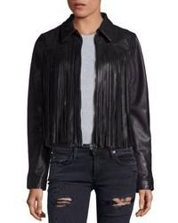 True Religion Leather Fringe Moto Jacket