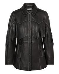 Ganni Angela Fringed Textured Leather Jacket