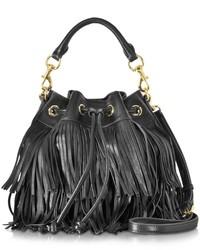 Rebecca Minkoff Black Leather Fringe Fiona Bucket Bag