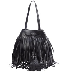 Prada Black Leather Fringe Top Handle Bucket Bag
