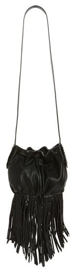 Steve Madden Bsandro Fringed Faux Leather Bucket Bag Black