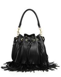 Saint Laurent Emmanuelle Medium Fringed Leather Bucket Bag