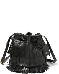 63d68929ce64 ... promo code for polo ralph lauren fringe leather mini bucket bag 222a5  92ec2