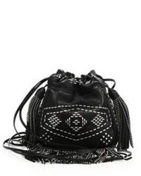 Saint Laurent Helena Small Fringe Studs Leather Bucket Bag