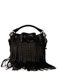 Saint Laurent Small Emmanuelle Fringed Studded Embossed Leather Bucket Bag