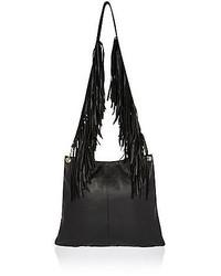 River Island Black Leather Fringed Strap Crossbody Bag