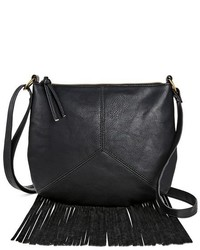 T-Shirt & Jeans Faux Leather Crossbody Handbag With Fringe