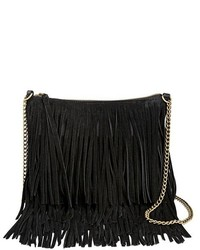 T-Shirt & Jeans Faux Leather Fringe Crossbody Handbag