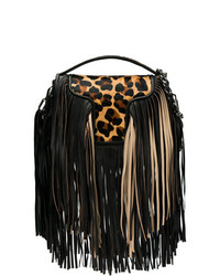 Andrea Bogosian Fringed Animal Print Shoulder Bag