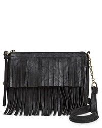 ... Mossimo Supply Co Fringe Crossbody Handbag Black 2d3e4ca73ca9a