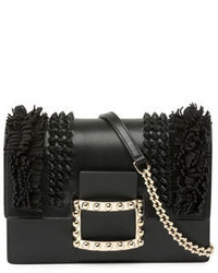 Roger Vivier Viv Micro Knotsfringes Shoulder Bag Black