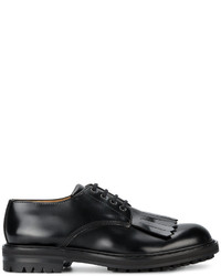 Alexander McQueen Black Leather Fringe Derby Shoes