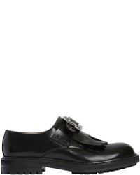Alexander McQueen Fringed Belted Leather Slip On Loafers