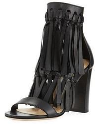 Jimmy Choo Malia Leather Fringe Block Heel Sandal