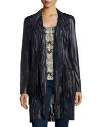 L'Agence Adelle Fringe Leather Jacket Black