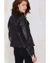 Maison Scotch Ambush Leather Fringe Jacket