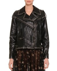 Valentino Asymmetric Zip Front Leather Moto Jacket Black