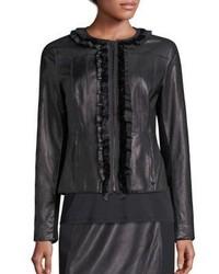 Elie Tahari Cam Leather Merino Wool Jacket