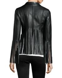 Vakko Faux Leather Fringe Jacket Black