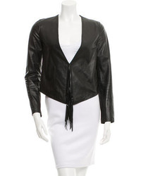 Derek Lam 10 Crosby Fringe Accented Leather Jacket